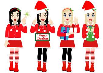 Christmas Girl wearing Santa Suit, Vector cartoon character