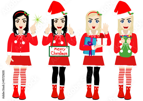 Christmas Girl wearing Santa Suit, Vector cartoon character