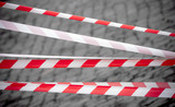Red and white striped tapes. Restricted area border