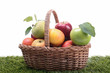 wicker basket with apples on green herb