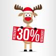 Rentier / Schild / 30% Reduziert - Weihnachten