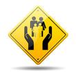 Señal amarilla simbolo servicios sociales