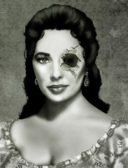 Retrato de zombie vintage en blanco y negro