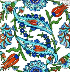 Floral pattern on old Turkish tiles