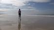 footing woman on beach
