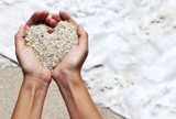 Mellow heart shaping female hands above beach poster