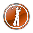 "Orange Glossy Button ""Golfing"""