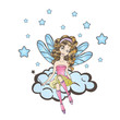 Little fairy sitting on the cloud