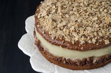 chocolate cake with pear puree closeup
