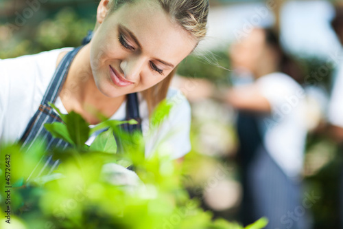 closeup of a beautiful florist working in garden