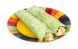 Chicken salad spinach wraps