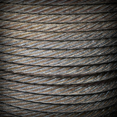 Steel rope close-up background texture