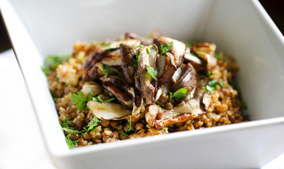 Porcini with lentils and bulgur wheat vegetarian dish