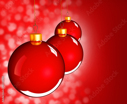 Christmas baubles balls in golden red