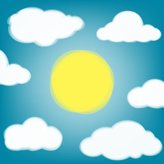 Sky background with transparent clouds and sun.
