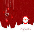 Sitting Santa & Hanging Symbols Red Background