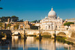 St Peters basilica and river Tiber, Rome