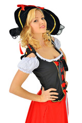 Beautiful blonde woman in carnival  pirate costume.