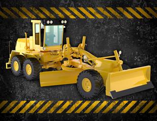 Grunge construction background with bulldozer