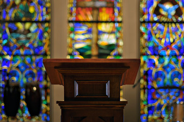 Church Pulpit with Stained Glass