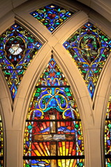 Colorful Stained Glass inside Church