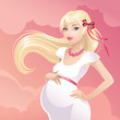 happy pregnant blondy