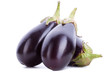 three shiny eggplants