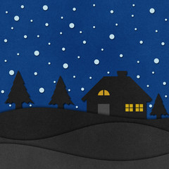 Christmas night recycled papercraft.