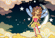 Little fairy sitting on the moon