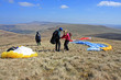 Paragliders preparing in Brecon Beacons
