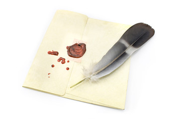 Wax sealed letter with quill