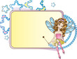 Little fairy sitting on the moon design template