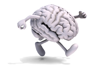human brain with arms and legs running