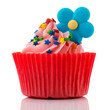 Colorful single cupcake in red and pink