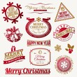 Set of decorative Christmas emblems and labels