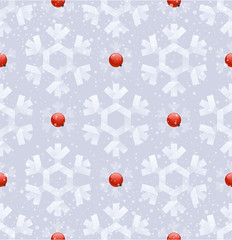 Seamless background - paper snowflakes & rowanberry