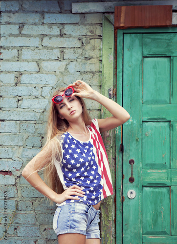 Blond girl in american retro style