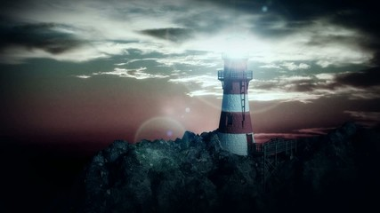 lighthouse on the cliff at night