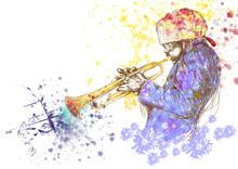 Trompeter, Handzeichnung, ist diese ursprüngliche Skizze