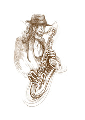 saxophonist, hand drawing, this is original sketch