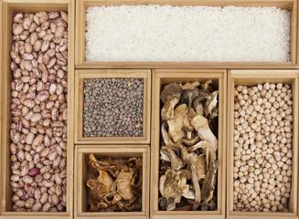 Cereales, legumbres y setas