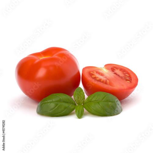 Tomato and basil leaf