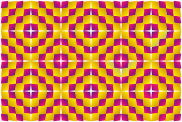 Optical illusion, expansion, bulge and distortion.