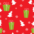 Christmas red seamless pattern with Christmas trees, gifts