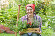 canvas print picture - Junge Frau im Garten, young woman in a garden