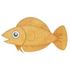 Recycled paper texture fish illustration isolated on white