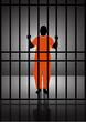 Stock Vector illustration of  a man standing behind bars