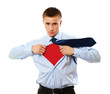 A business superman, isolated on white background