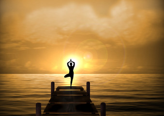 Stock Illustration of Yoga on Beach Bridge at Sunset