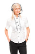 Blond female customer service operator with a headset